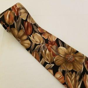 GEOFFREY BEENE Handmade Silk Tie Floral